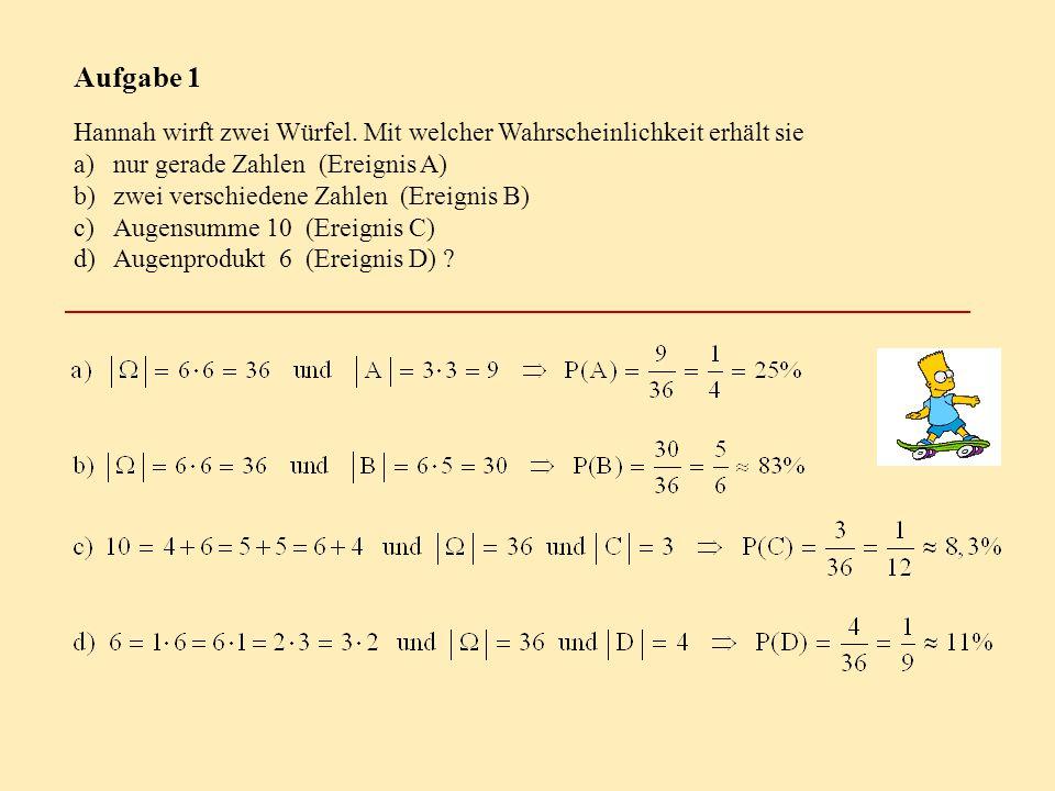 Aufgabe 1 Hannah wirft zwei Würfel. Mit welcher Wahrscheinlichkeit erhält sie a)nur gerade Zahlen (Ereignis A) b)zwei verschiedene Zahlen (Ereignis B)