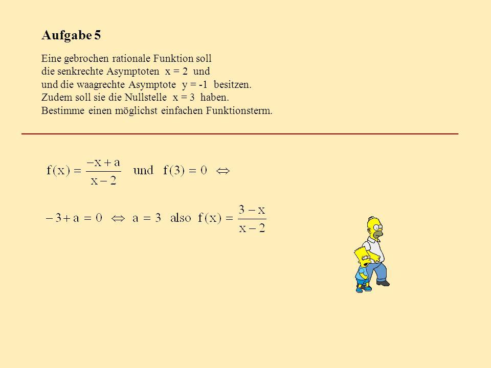 Aufgabe 5 Eine gebrochen rationale Funktion soll die senkrechte Asymptoten x = 2 und und die waagrechte Asymptote y = -1 besitzen. Zudem soll sie die