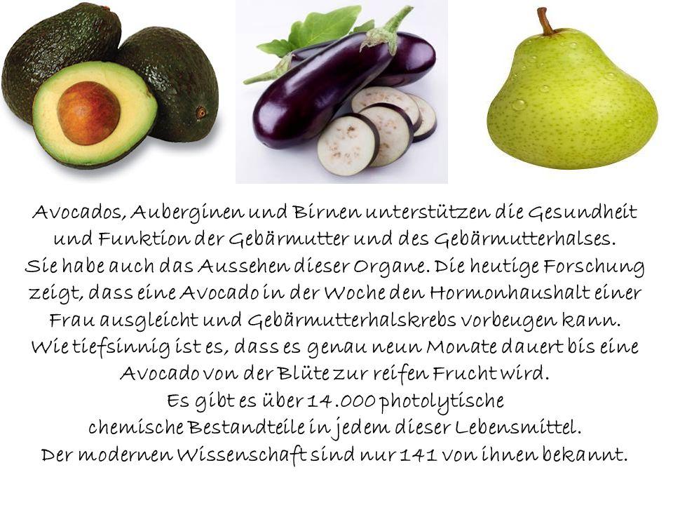 Avocados, Auberginen und Birnen unterstützen die Gesundheit und Funktion der Gebärmutter und des Gebärmutterhalses.