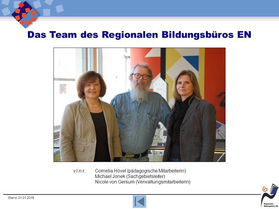Stand: 01.01.2015 Das Team des Regionalen Bildungsbüros EN v.l.n.r.:Cornelia Hövel (pädagogische Mitarbeiterin) Michael Jonek (Sachgebietsleiter) Nico