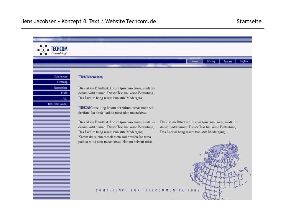 Jens Jacobsen – Konzept & Text / Website Techcom.de Startseite