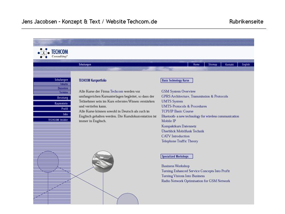Jens Jacobsen – Konzept & Text / Website Techcom.de Rubrikenseite