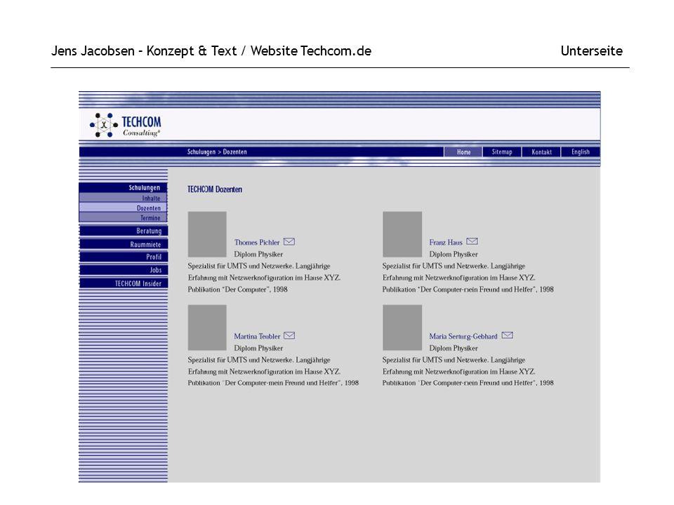 Jens Jacobsen – Konzept & Text / Website Techcom.de Unterseite