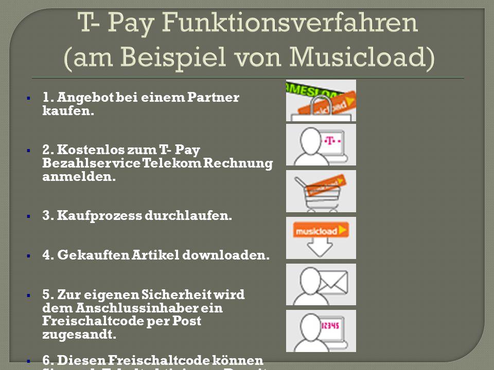 T- Pay Funktionsverfahren (am Beispiel von Musicload)  1. Angebot bei einem Partner kaufen.  2. Kostenlos zum T- Pay Bezahlservice Telekom Rechnung