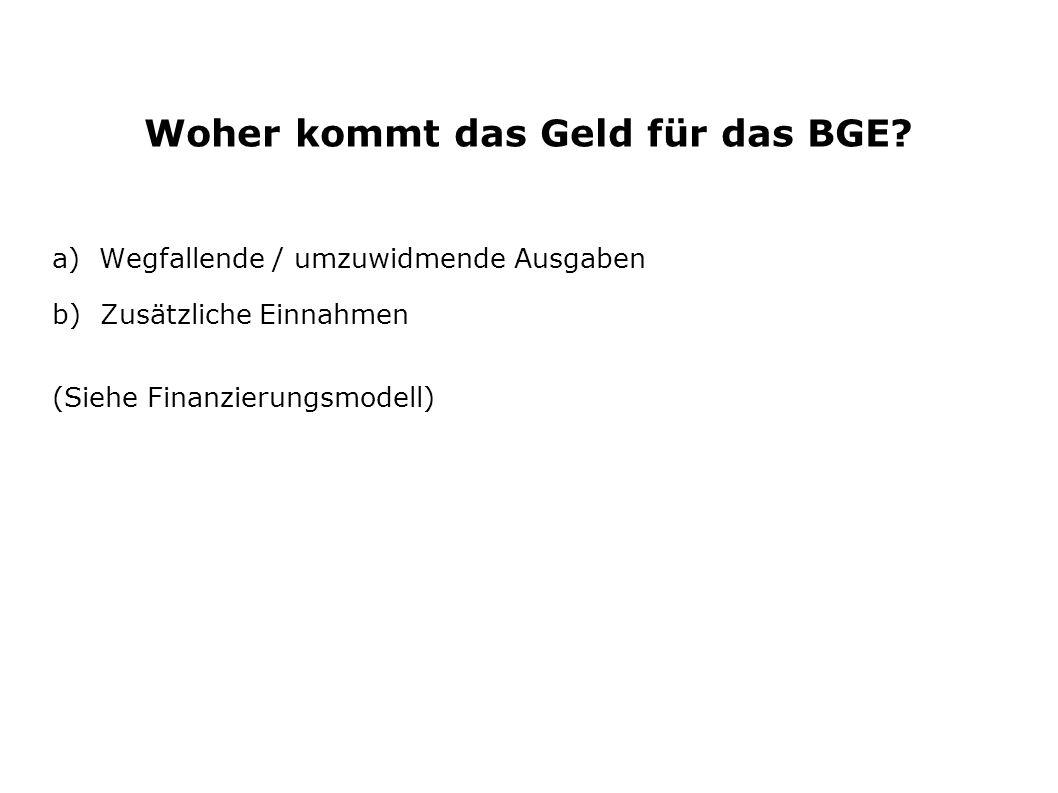 Woher kommt das Geld für das BGE? a) Wegfallende / umzuwidmende Ausgaben b) Zusätzliche Einnahmen (Siehe Finanzierungsmodell)