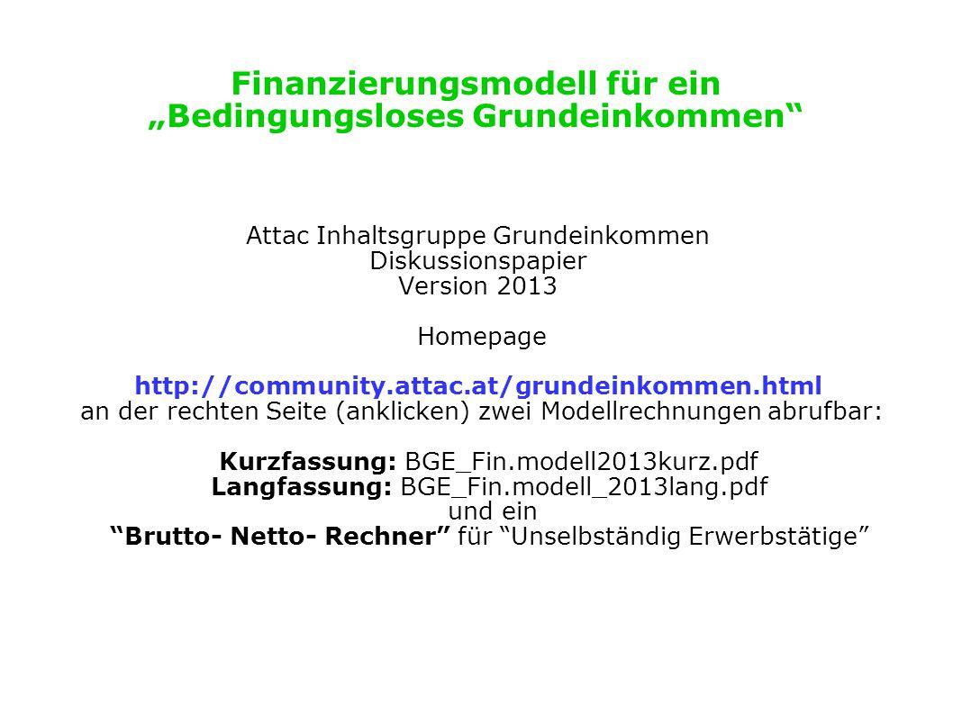 """Finanzierungsmodell für ein """"Bedingungsloses Grundeinkommen"""" Attac Inhaltsgruppe Grundeinkommen Diskussionspapier Version 2013 Homepage http://communi"""