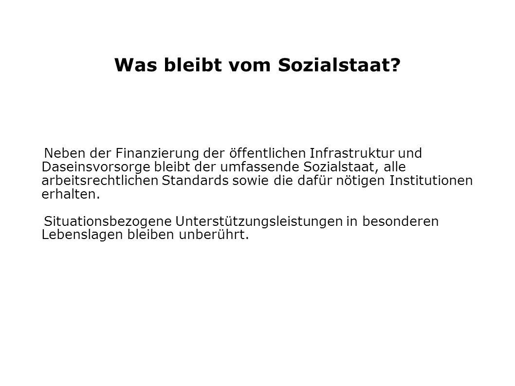 Was bleibt vom Sozialstaat? Neben der Finanzierung der öffentlichen Infrastruktur und Daseinsvorsorge bleibt der umfassende Sozialstaat, alle arbeitsr