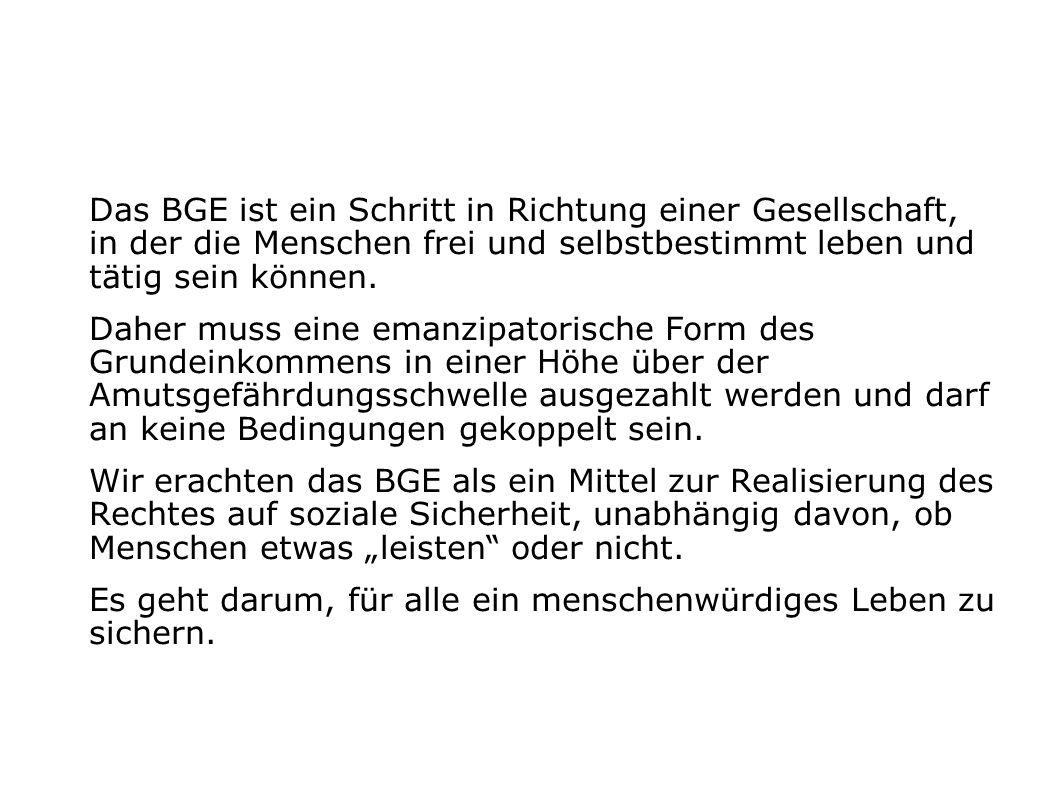 BGE: Brutto/Netto Rechner V2.0 (derzeit nur für Unselbständig Erwerbstätige) http://community.attac.at/grundeinkommen.html Eingabe: Werte in Euro Bruttoeinkommen per Monat Ergebnis: Nettoeinkommen IST per Monat (14x) Nettoeinkommen BGE-Modell per Monat (14x)