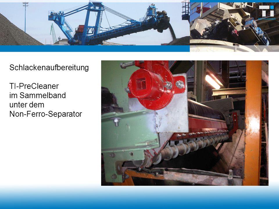Schlackenaufbereitung TI-PreCleaner im Sammelband unter dem Non-Ferro-Separator