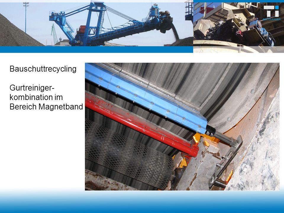 Bauschuttrecycling Gurtreiniger- kombination im Bereich Magnetband