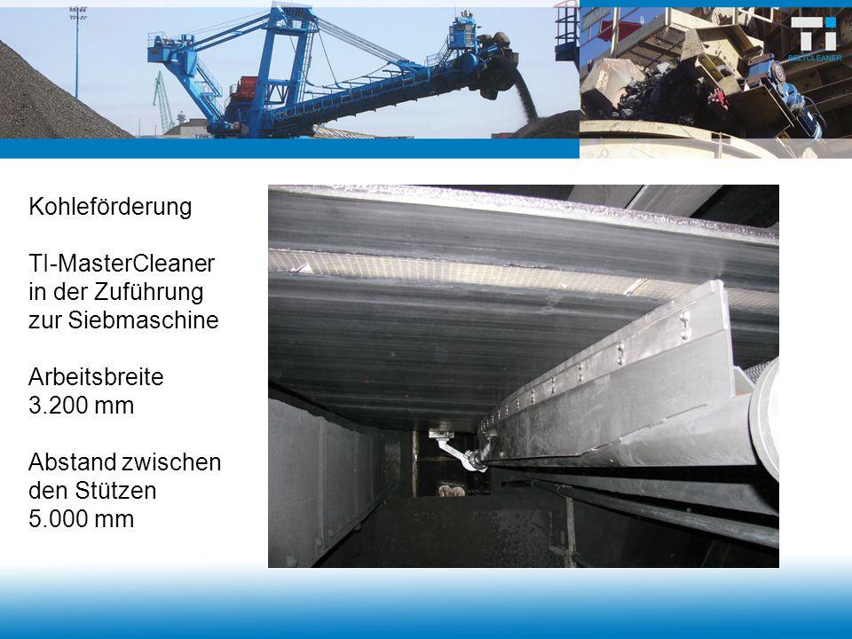 Kohleförderung TI-MasterCleaner in der Zuführung zur Siebmaschine Arbeitsbreite 3.200 mm Abstand zwischen den Stützen 5.000 mm