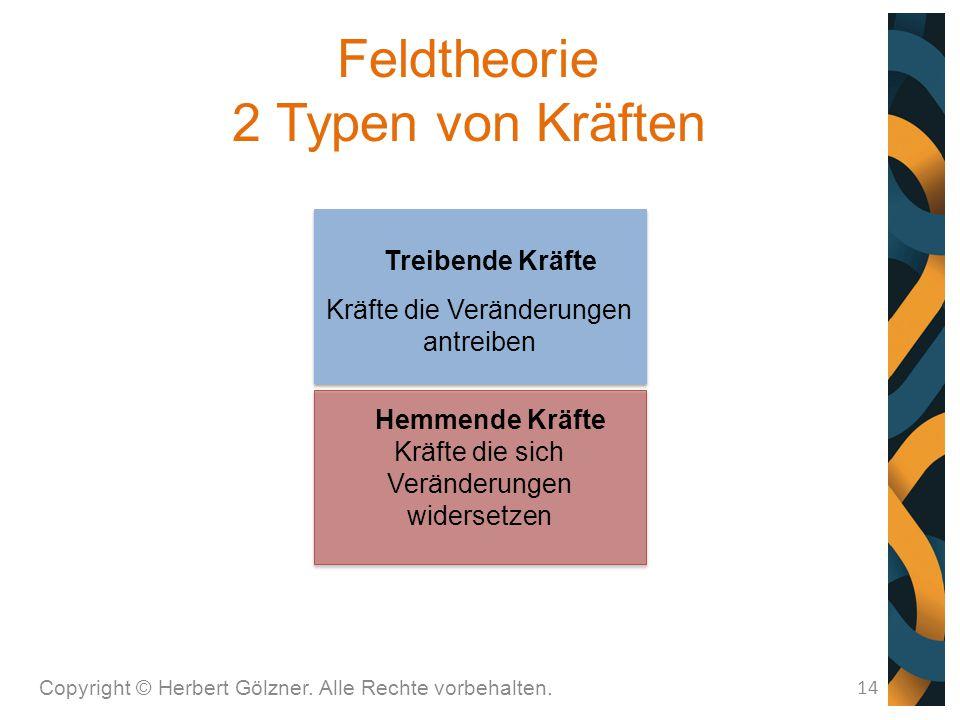 Feldtheorie 2 Typen von Kräften Copyright © Herbert Gölzner. Alle Rechte vorbehalten. 14 Treibende Kräfte Kräfte die Veränderungen antreiben Hemmende