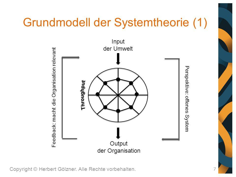 Grundmodell der Systemtheorie (1) Copyright © Herbert Gölzner. Alle Rechte vorbehalten. 7 Input der Umwelt Output der Organisation Perspektive: offene