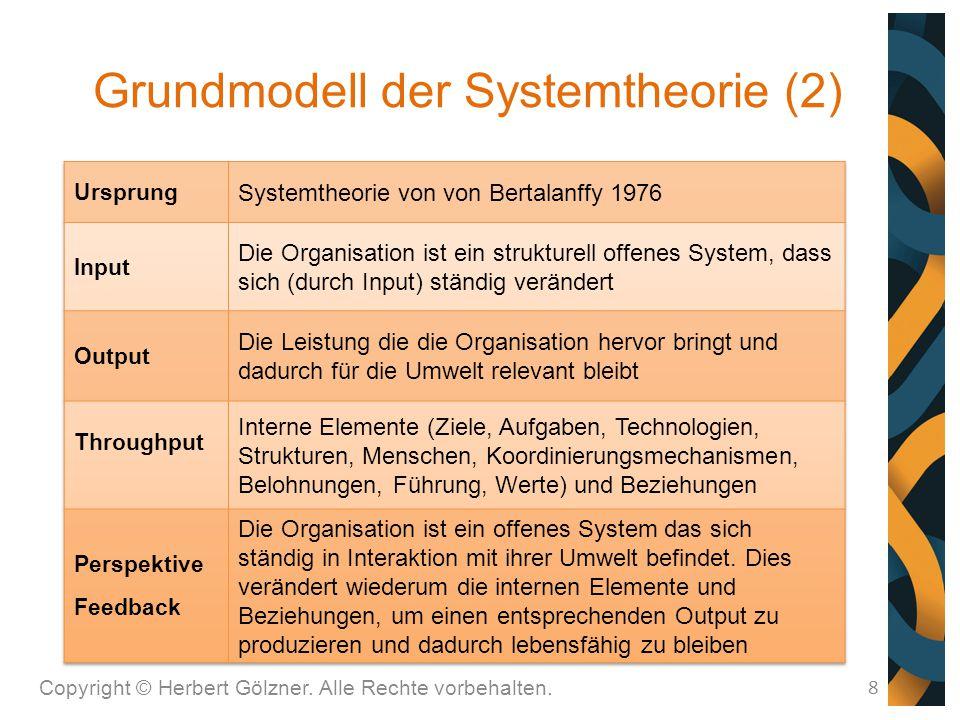 Grundmodell der Systemtheorie (2) Copyright © Herbert Gölzner. Alle Rechte vorbehalten. 8