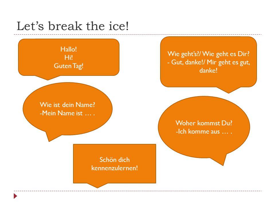 Let's break the ice! Hallo! Hi! Guten Tag! Wie geht's?/ Wie geht es Dir? - Gut, danke!/ Mir geht es gut, danke! Wie ist dein Name? -Mein Name ist …. W