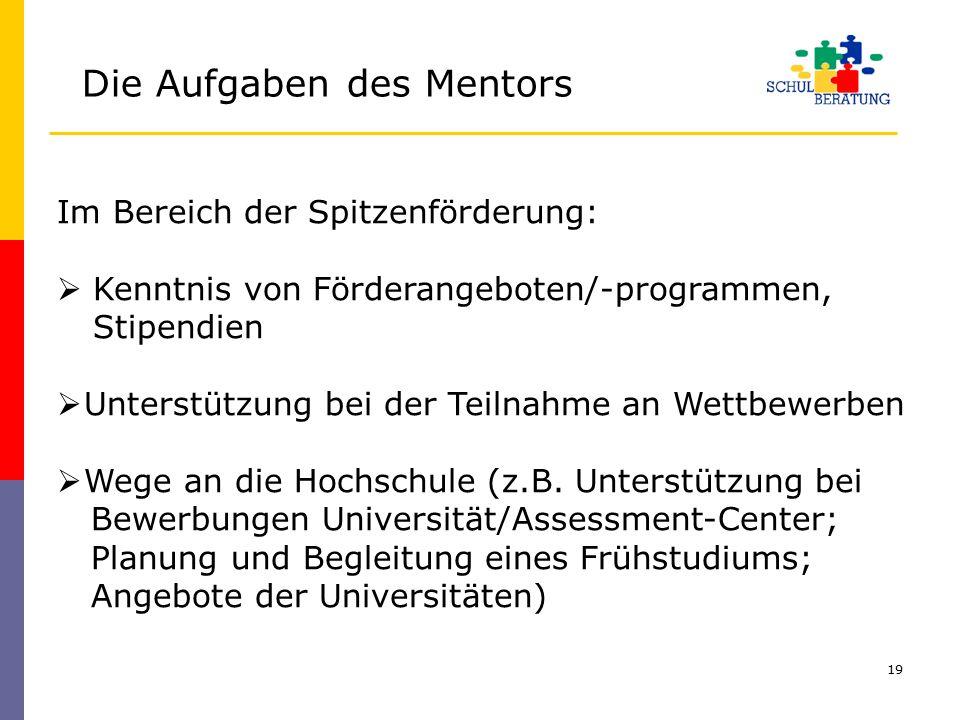 19 Im Bereich der Spitzenförderung:  Kenntnis von Förderangeboten/-programmen, Stipendien  Unterstützung bei der Teilnahme an Wettbewerben  Wege an