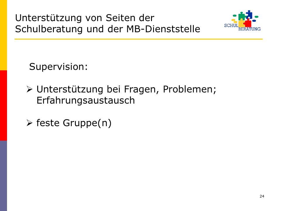 24 Supervision:  Unterstützung bei Fragen, Problemen; Erfahrungsaustausch  feste Gruppe(n) Unterstützung von Seiten der Schulberatung und der MB-Die