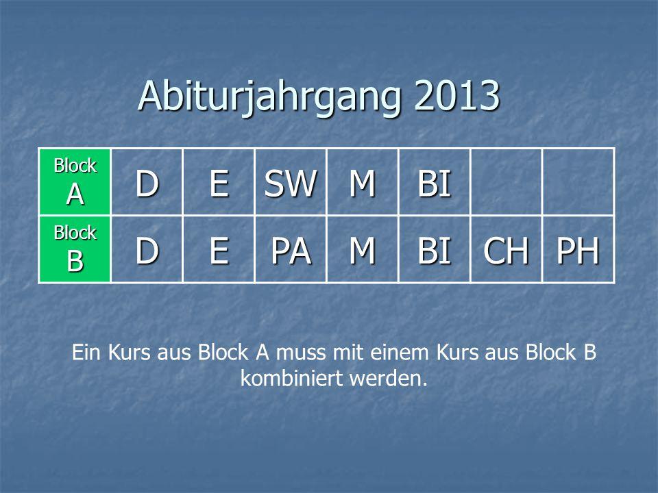 Abiturjahrgang 2013 Block A DESWMBI Block B DEPAMBICHPH Ein Kurs aus Block A muss mit einem Kurs aus Block B kombiniert werden.