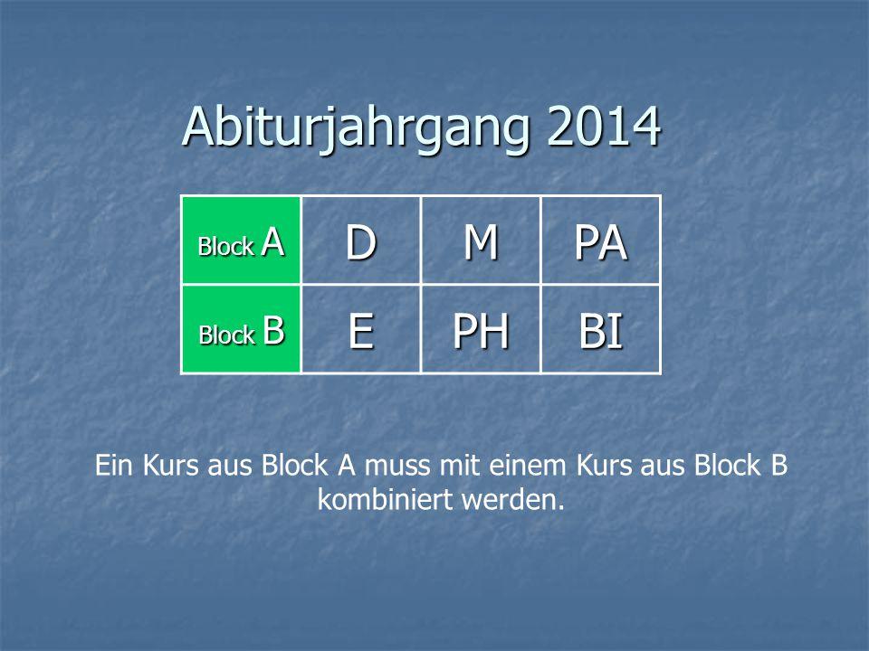 Abiturjahrgang 2014 Block A DMPA Block B EPHBI Ein Kurs aus Block A muss mit einem Kurs aus Block B kombiniert werden.