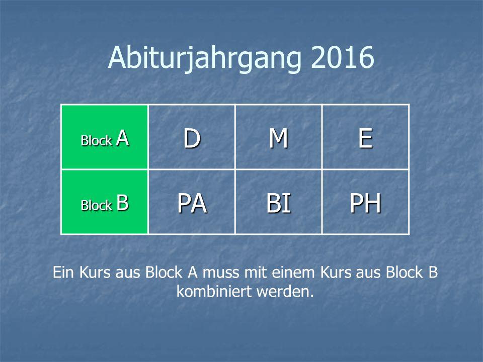 Abiturjahrgang 2016 Block A DME Block B PABIPH Ein Kurs aus Block A muss mit einem Kurs aus Block B kombiniert werden.