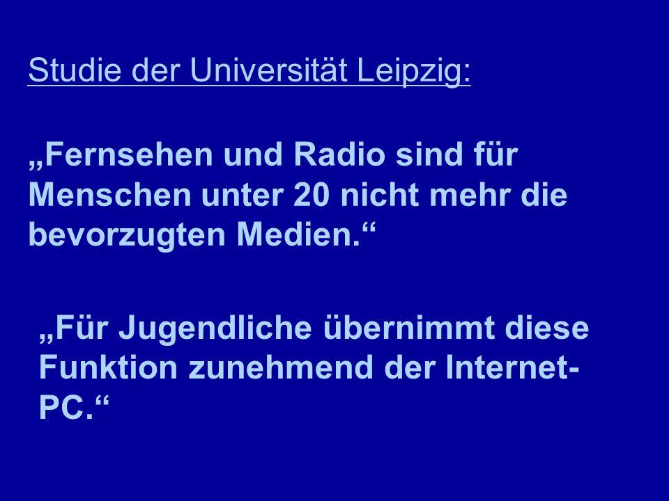 """Studie der Universität Leipzig: """"Fernsehen und Radio sind für Menschen unter 20 nicht mehr die bevorzugten Medien. """"Für Jugendliche übernimmt diese Funktion zunehmend der Internet- PC."""
