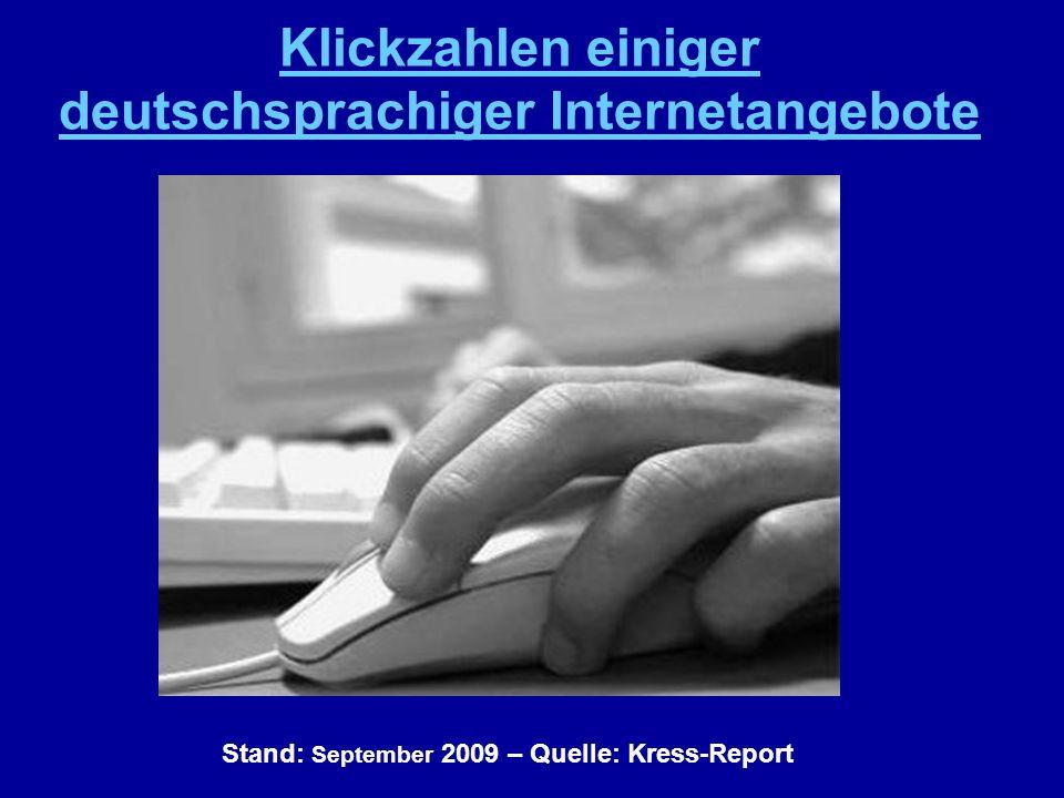Stand: September 2009 – Quelle: Kress-Report Klickzahlen einiger deutschsprachiger Internetangebote