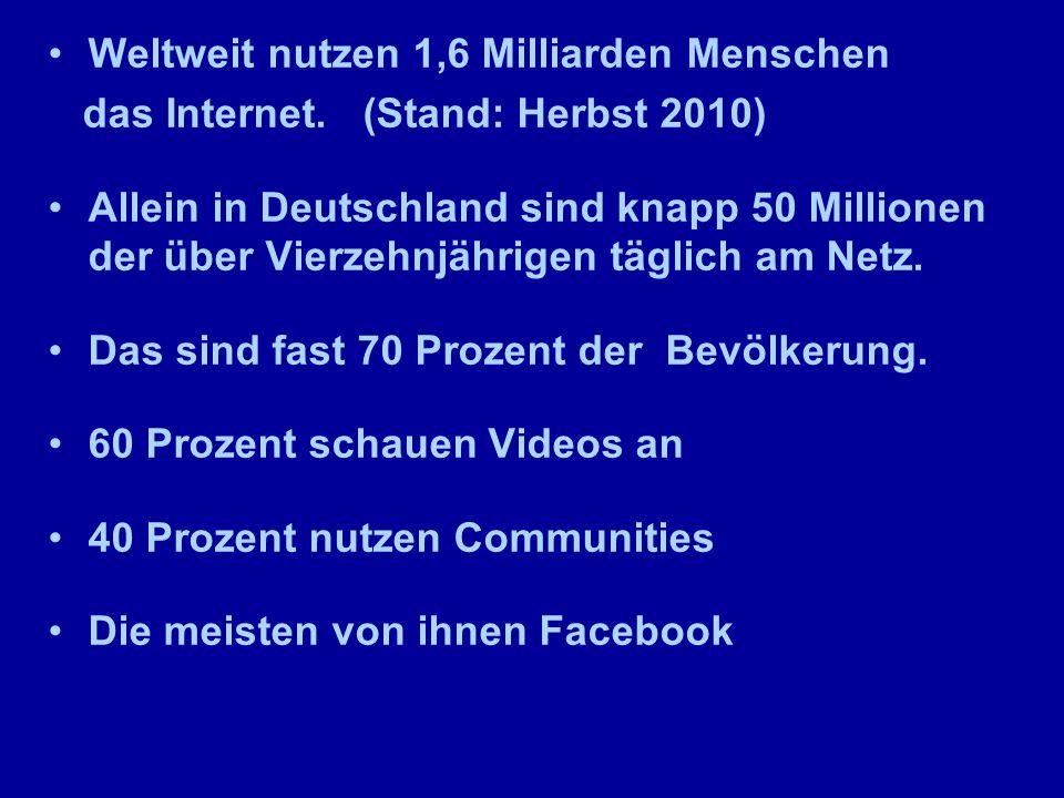 Weltweit nutzen 1,6 Milliarden Menschen das Internet.