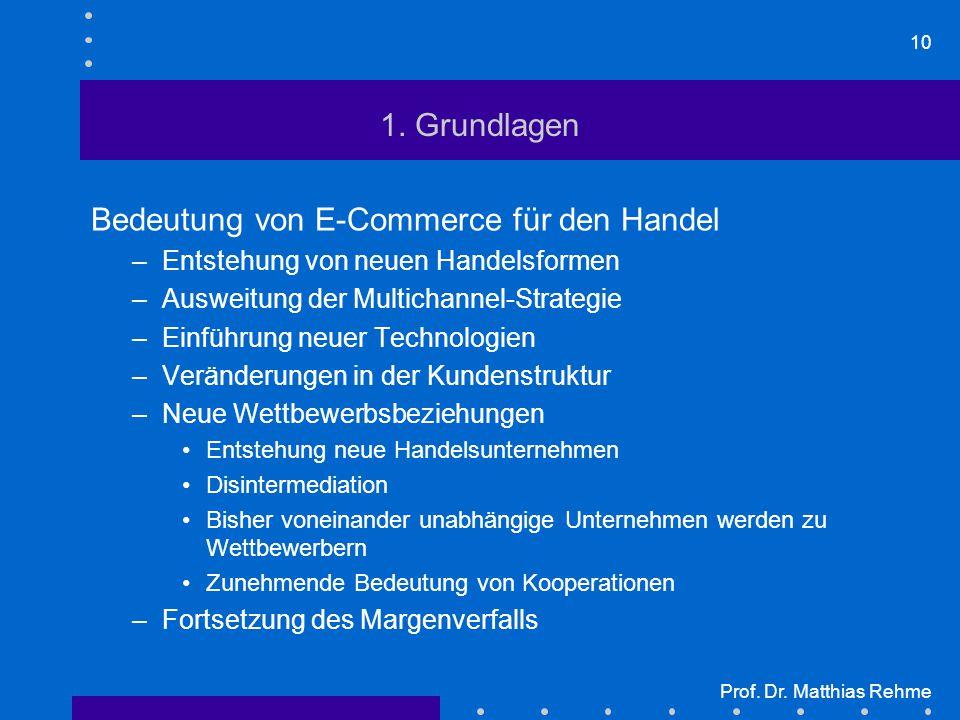 10 Prof. Dr. Matthias Rehme 1. Grundlagen Bedeutung von E-Commerce für den Handel –Entstehung von neuen Handelsformen –Ausweitung der Multichannel-Str