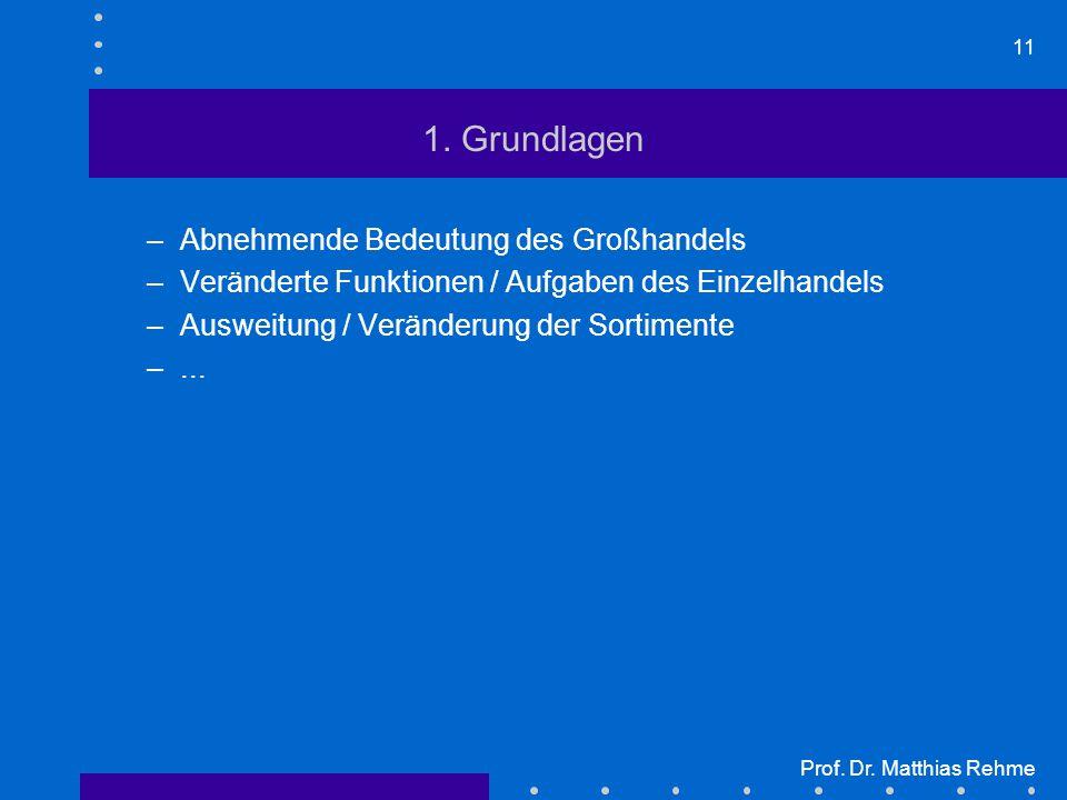 11 Prof. Dr. Matthias Rehme 1. Grundlagen –Abnehmende Bedeutung des Großhandels –Veränderte Funktionen / Aufgaben des Einzelhandels –Ausweitung / Verä