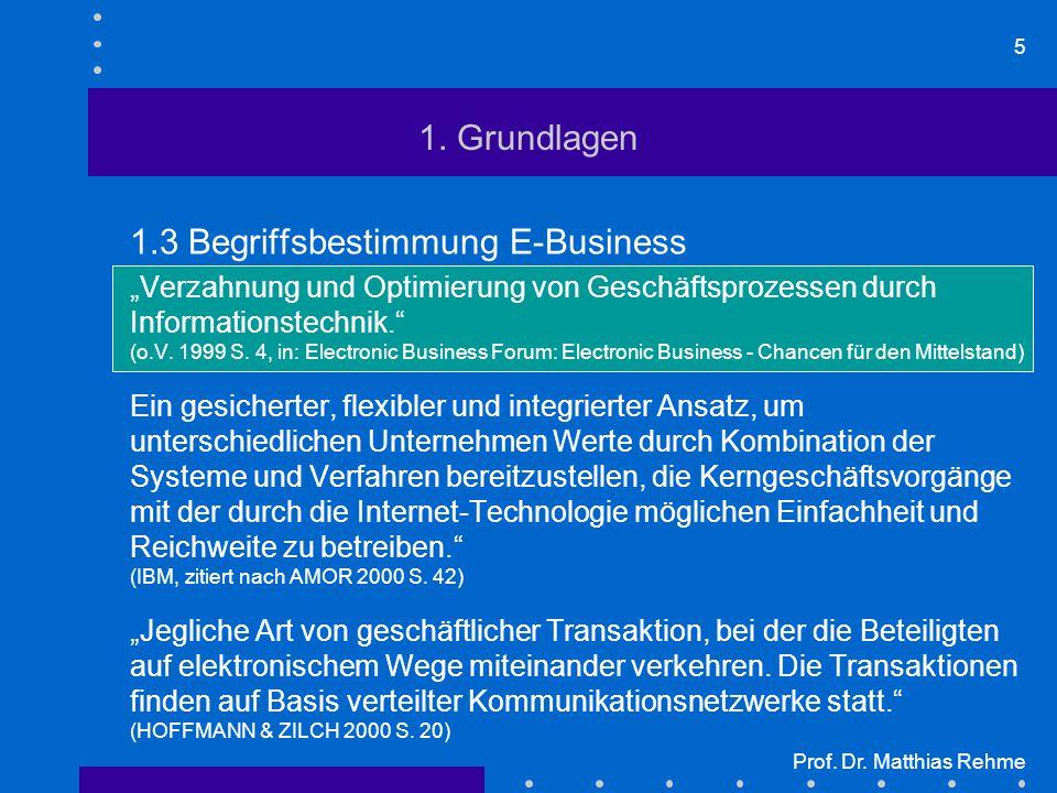 """5 Prof. Dr. Matthias Rehme 1. Grundlagen 1.3 Begriffsbestimmung E-Business """"Verzahnung und Optimierung von Geschäftsprozessen durch Informationstechni"""