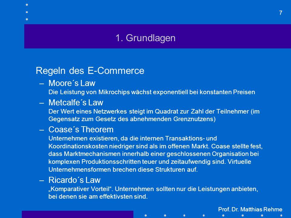 7 Prof. Dr. Matthias Rehme 1. Grundlagen Regeln des E-Commerce –Moore´s Law Die Leistung von Mikrochips wächst exponentiell bei konstanten Preisen –Me