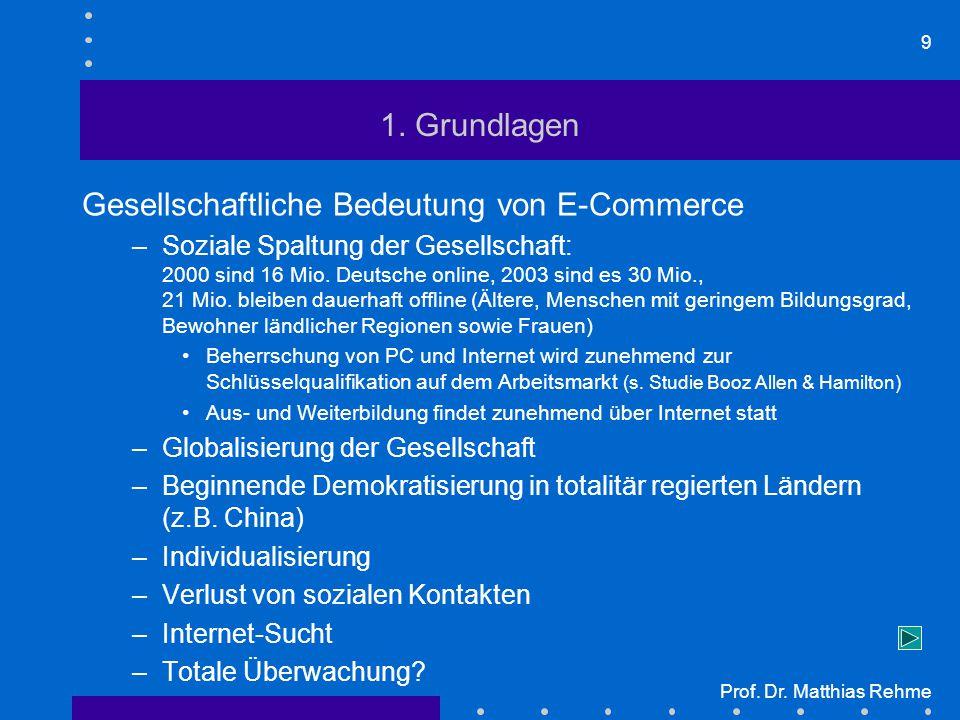 9 Prof. Dr. Matthias Rehme 1. Grundlagen Gesellschaftliche Bedeutung von E-Commerce –Soziale Spaltung der Gesellschaft: 2000 sind 16 Mio. Deutsche onl
