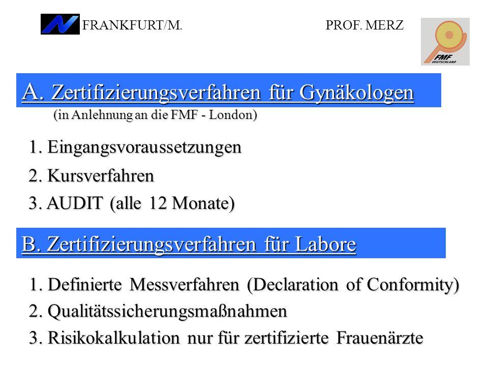 A.Zertifizierungsverfahren für Gynäkologen 1. Eingangsvoraussetzungen 2.