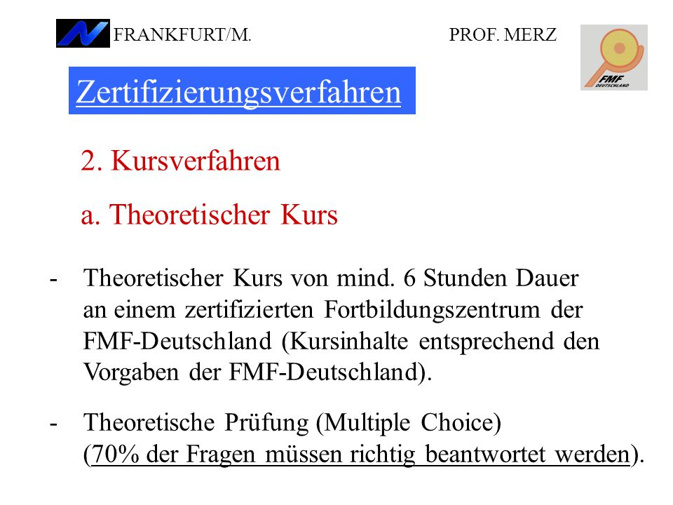 Zertifizierungsverfahren 2.Kursverfahren a. Theoretischer Kurs -Theoretischer Kurs von mind.