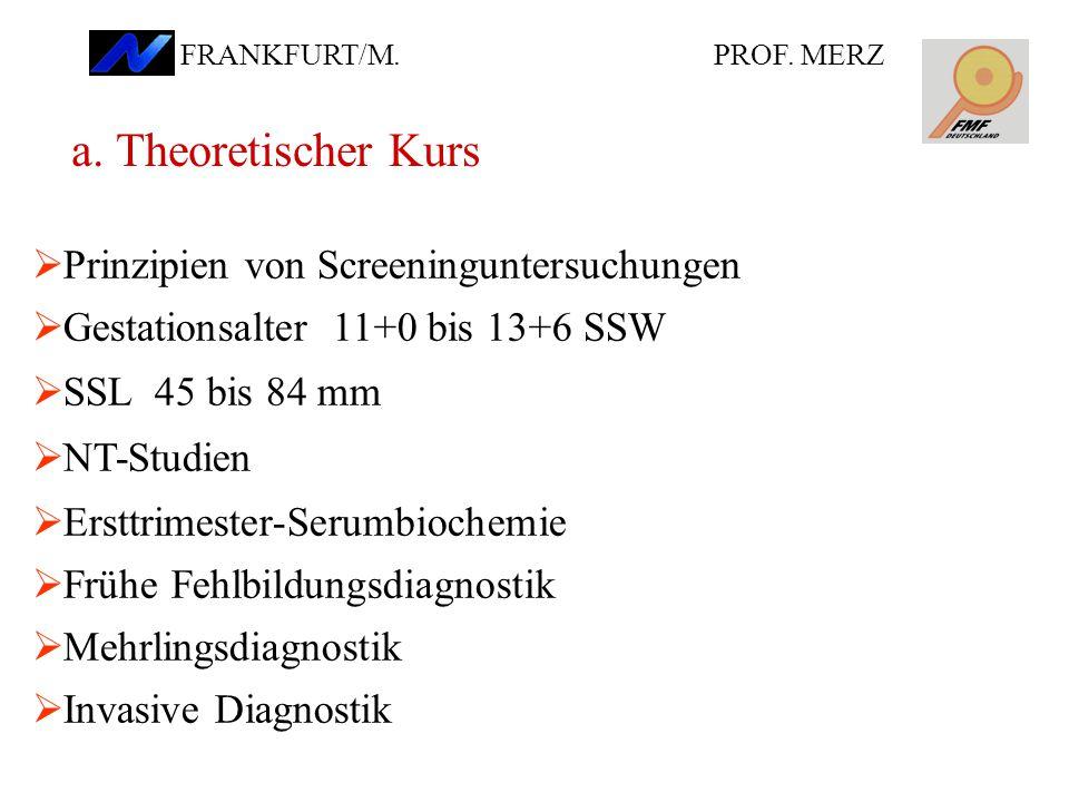  Prinzipien von Screeninguntersuchungen  Gestationsalter 11+0 bis 13+6 SSW  SSL 45 bis 84 mm  NT-Studien  Ersttrimester-Serumbiochemie  Frühe Fehlbildungsdiagnostik  Mehrlingsdiagnostik  Invasive Diagnostik a.