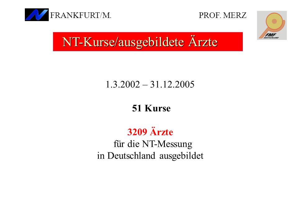 1.3.2002 – 31.12.2005 51 Kurse 3209 Ärzte für die NT-Messung in Deutschland ausgebildet NT-Kurse/ausgebildete Ärzte NT-Kurse/ausgebildete Ärzte PROF.