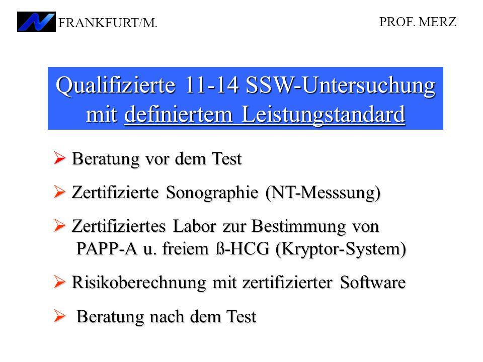 Qualifizierte 11-14 SSW-Untersuchung mit definiertem Leistungstandard  Beratung vor dem Test  Zertifizierte Sonographie (NT-Messsung)  Zertifiziertes Labor zur Bestimmung von PAPP-A u.