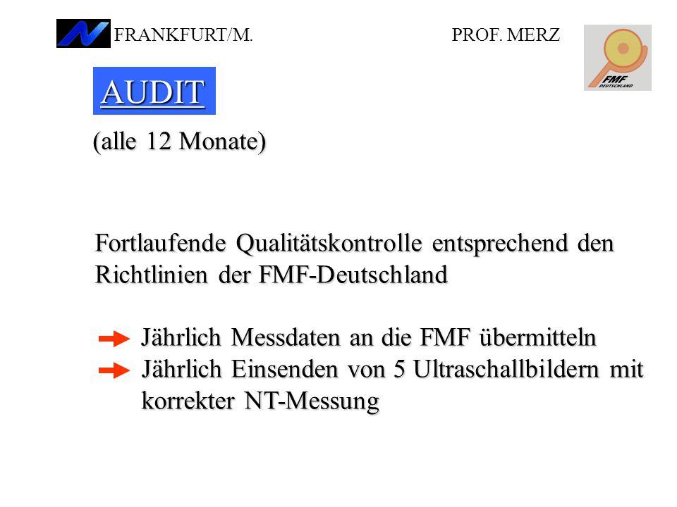 AUDIT (alle 12 Monate) Fortlaufende Qualitätskontrolle entsprechend den Richtlinien der FMF-Deutschland Jährlich Messdaten an die FMF übermitteln JährlichEinsenden von 5 Ultraschallbildern mit korrekter NT-Messung Jährlich Messdaten an die FMF übermitteln Jährlich Einsenden von 5 Ultraschallbildern mit korrekter NT-Messung PROF.