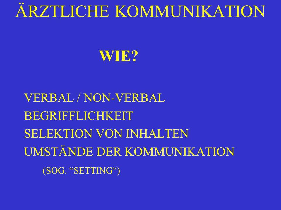 """ÄRZTLICHE KOMMUNIKATION WIE? VERBAL / NON-VERBAL BEGRIFFLICHKEIT SELEKTION VON INHALTEN UMSTÄNDE DER KOMMUNIKATION (SOG. """"SETTING"""")"""