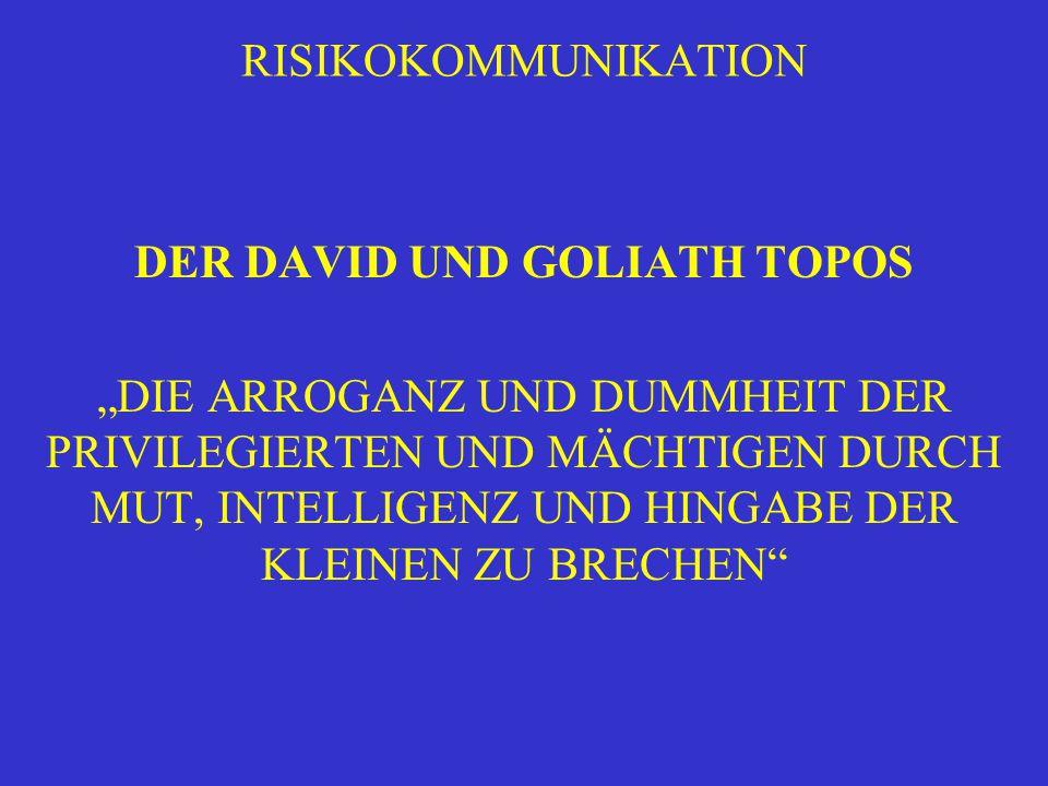 """RISIKOKOMMUNIKATION DER DAVID UND GOLIATH TOPOS """"DIE ARROGANZ UND DUMMHEIT DER PRIVILEGIERTEN UND MÄCHTIGEN DURCH MUT, INTELLIGENZ UND HINGABE DER KLE"""