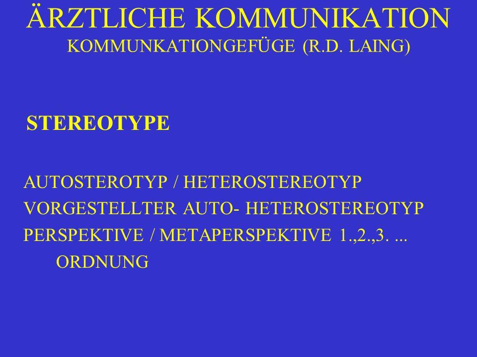 ÄRZTLICHE KOMMUNIKATION KOMMUNKATIONGEFÜGE (R.D. LAING) STEREOTYPE AUTOSTEROTYP / HETEROSTEREOTYP VORGESTELLTER AUTO- HETEROSTEREOTYP PERSPEKTIVE / ME