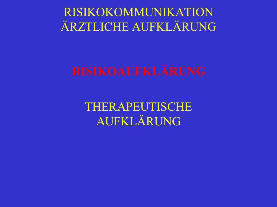RISIKOKOMMUNIKATION ÄRZTLICHE AUFKLÄRUNG RISIKOAUFKLÄRUNG THERAPEUTISCHE AUFKLÄRUNG