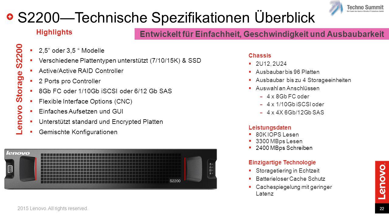 22 2015 Lenovo. All rights reserved. S2200—Technische Spezifikationen Überblick Einzigartige Technologie  Storagetiering in Echtzeit  Batterieloser
