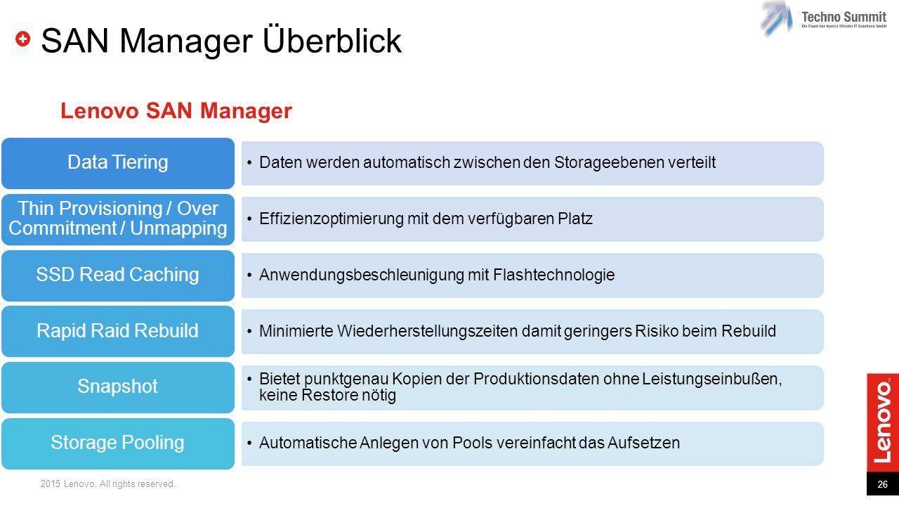 26 2015 Lenovo. All rights reserved. SAN Manager Überblick Daten werden automatisch zwischen den Storageebenen verteilt Data Tiering Effizienzoptimier