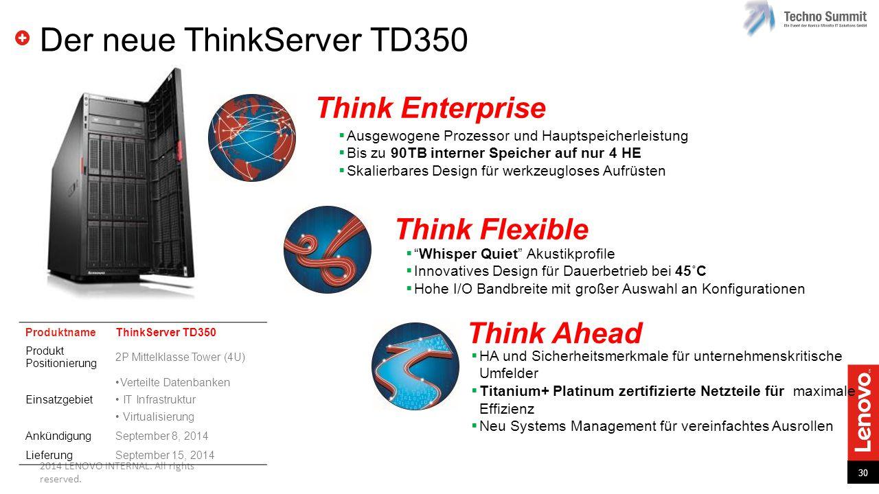 30 2014 LENOVO INTERNAL. All rights reserved. Der neue ThinkServer TD350  Ausgewogene Prozessor und Hauptspeicherleistung  Bis zu 90TB interner Spei