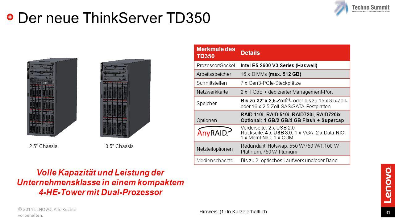31 © 2014 LENOVO. Alle Rechte vorbehalten. Der neue ThinkServer TD350 Volle Kapazität und Leistung der Unternehmensklasse in einem kompaktem 4-HE-Towe