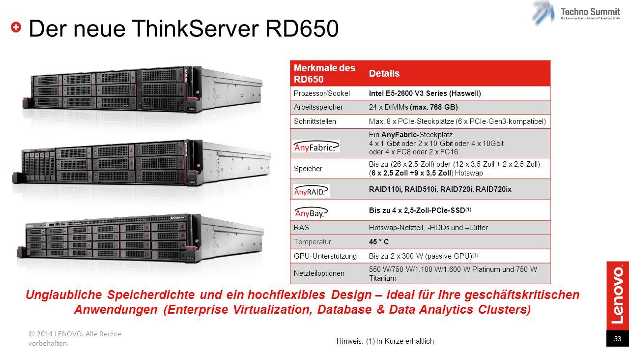 33 © 2014 LENOVO. Alle Rechte vorbehalten. Der neue ThinkServer RD650 Unglaubliche Speicherdichte und ein hochflexibles Design – ideal für Ihre geschä