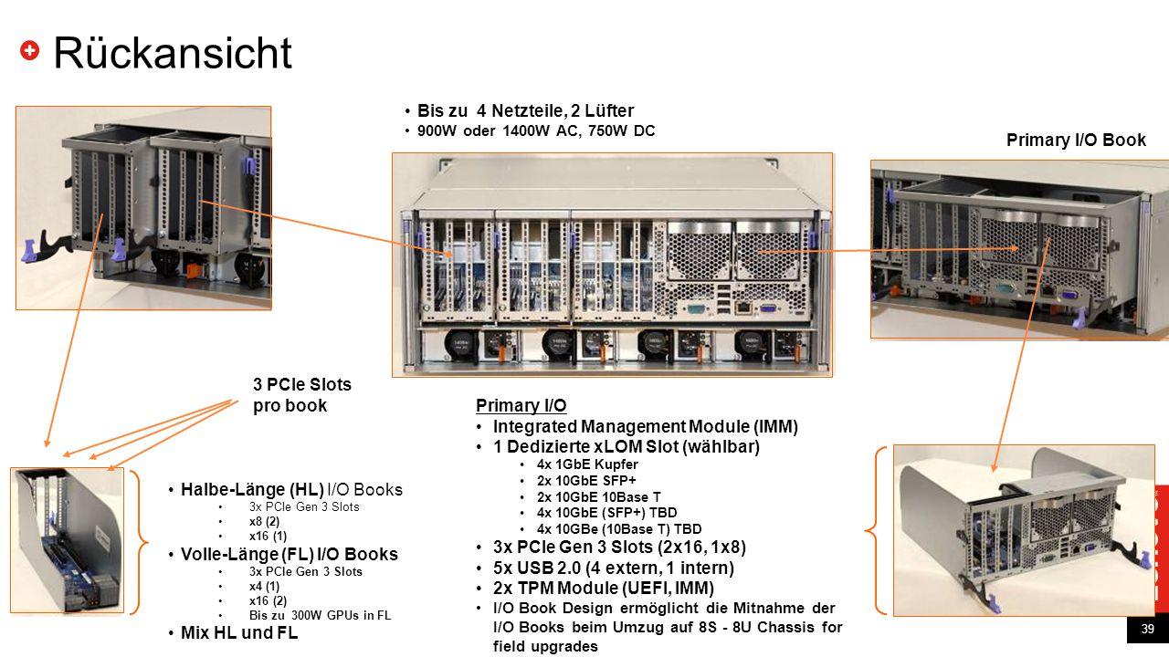 39 Rückansicht 39 Halbe-Länge (HL) I/O Books 3x PCIe Gen 3 Slots x8 (2) x16 (1) Volle-Länge (FL) I/O Books 3x PCIe Gen 3 Slots x4 (1) x16 (2) Bis zu 3