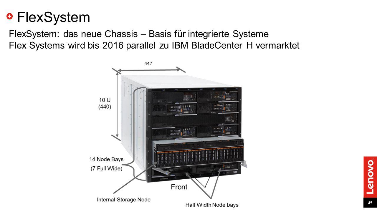 45 FlexSystem: das neue Chassis – Basis für integrierte Systeme Flex Systems wird bis 2016 parallel zu IBM BladeCenter H vermarktet FlexSystem 45
