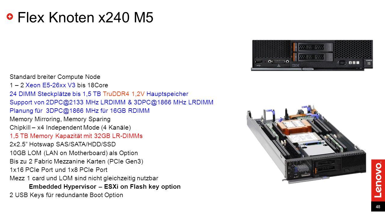 48 Standard breiter Compute Node 1 – 2 Xeon E5-26xx V3 bis 18Core 24 DIMM Steckplätze bis 1,5 TB TruDDR4 1,2V Hauptspeicher Support von 2DPC@2133 MHz